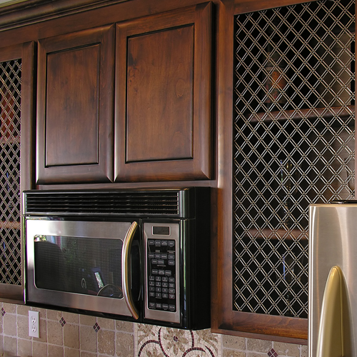 Wire Grille Brown Cabinets