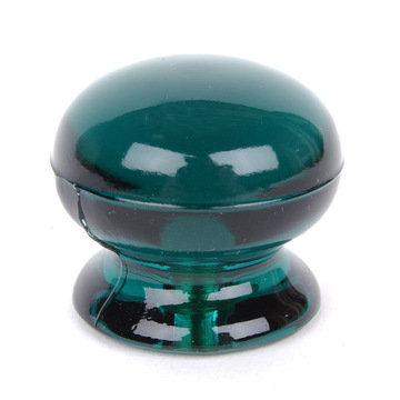 EMERALD GRN GLASS KNOB DOMED--1 3/8X1 1/4