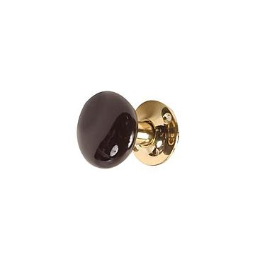 2BLACK KNOB W/LONG UNLAC BRASS STEM