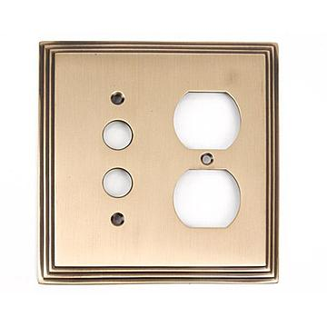 ANTQ BRASS SWITCHPLATE SINGLE W/DUPLEX