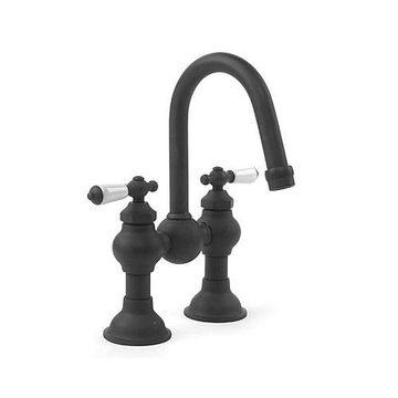 Gooseneck Lavatory Faucet With Porcelain Levers