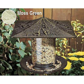 MOSS GREEN 6TRUMPET VINE TUBE BIRD FEEDER *DS*