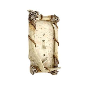 BIRCH/FAUX ANTLER SWITCH PLATE SINGLE SWITCH