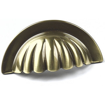 Century Hardware Plymouth Scalloped Solid Brass Cup Pull - 3 Inch