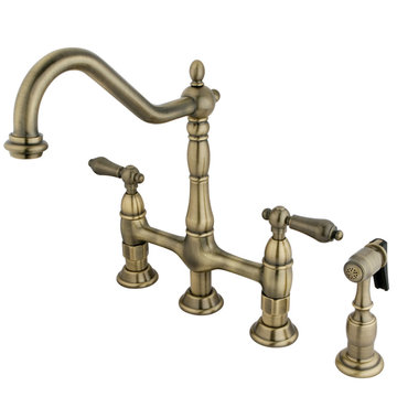 Restorers Deck Mount 8 Inch Kitchen Faucet & Sprayer - Metal Lever