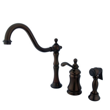 Widespread Kitchen Faucet With Brass Sprayer - Templeton Lever