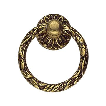 Classic Hardware Louis XVI Leaf Brass Ring Pull 101055
