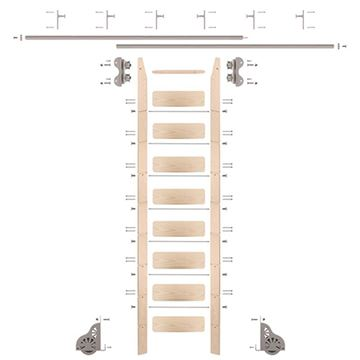 Quiet Glide Maple Library Ladder & 12 Ft Rolling Hardware Kit