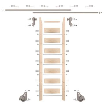 Quiet Glide Maple Library Ladder & 12 Ft Rolling Hook Hardware Kit