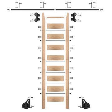 Quiet Glide Oak Library Ladder & 8 Ft Rolling Hardware Kit