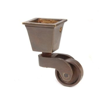 Restorers Solid Brass Square Cup Caster - 1 Inch Wheel