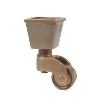 Restorers Solid Brass Square Cup Caster - 3/4 Inch Wheel