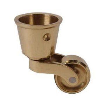 Restorers Solid Brass Round Cup Caster - 1 1/4 Inch Wheel