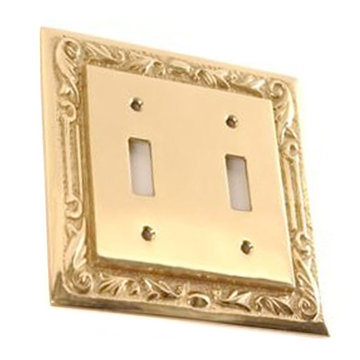 Brass Floral Double Switchplate