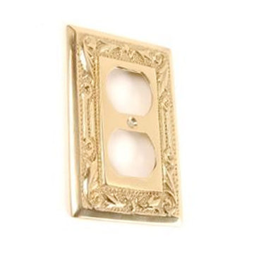 BRASS FLORAL DUPLEX OUTLET COVER