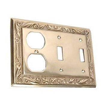 BRASS FLORAL DOUBLE SWITCH W/ DUPLEX COVER