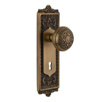 EGG & DART MORTISE BACKPLATE SET WITH ROUND KNOB
