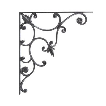Restorers Vine and Leaf 18 1/4 Inch Iron Shelf Bracket
