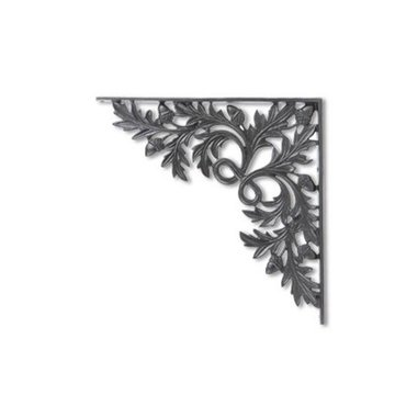 "Restorers 16 3/4"" Leaf Motif Iron Shelf Bracket"