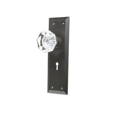 GLASS KNOB PASSAGE DOOR SET WITH SMALL PLATES