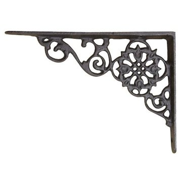 PENNSYLVANIA DUTCH MOTIF SHELF BRACKETS W/SAT. BLK
