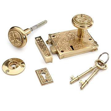 Restorers Solid Brass Ornate Rim Lock Set