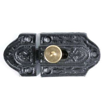 Restorers Classic Black Iron Cabinet Latch with Brass Knob