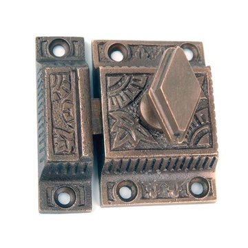 Restorers 2 1/8 Inch x 2 1/8 Inch Ornamental Cabinet Latch
