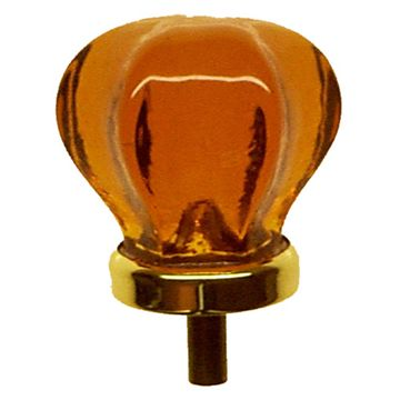 Restorers Classic Hexagonal Glass Knob With Brass Ferules