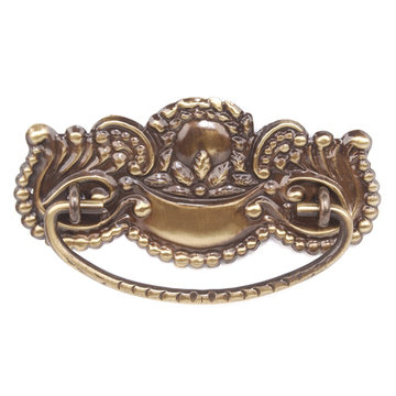 Restorers Classic Antique Brass Beaded Victorian Pull - 4 1/2 Inch