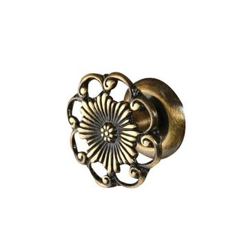 Restorers Classic Brass Floral Knob with Vine Border