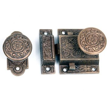 VICTORIAN SCREEN DOOR RIM LOCK SET
