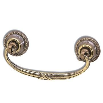 Armac Solid Brass Bail Pull with Beaded Rosettes