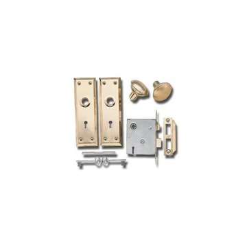 BRASS INTERIOR MORTISE LOCK SET (KEYED)