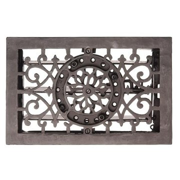 Restorers Cast Iron 11 1/2 Inch Flower and Scroll Floor Register