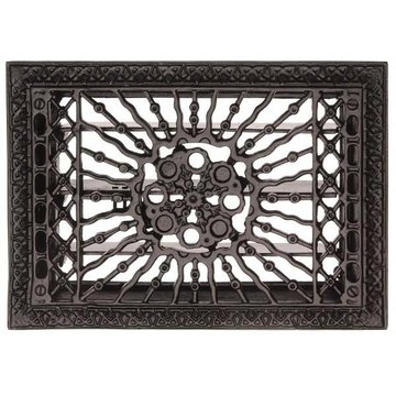 Restorers Cast Iron 13 1/2 Inch Sun Design Floor Register