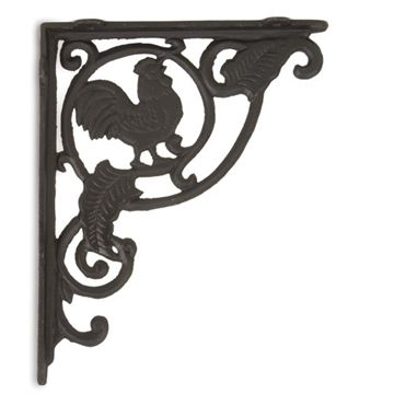 CROWING ROOSTER SHELF BRACKETS /CAST IRON