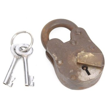 RUSTIC STEEL & BRASS PADLOCK W/2 KEYS