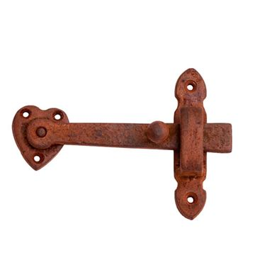 Restorers 5 5/8 Inch Iron Gate Latch with Heart Plate