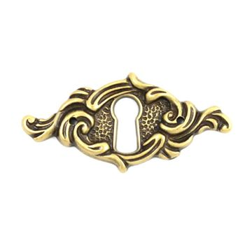 HORIZONTAL KEYHOLE ESCUTCHEON-- ANTIQUE BRASS