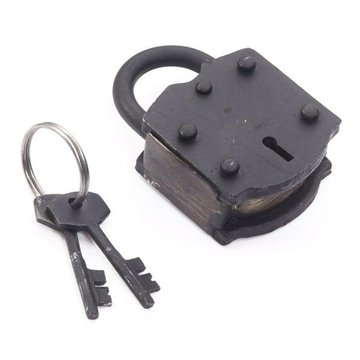 OIL BLKD PADLOCK W/2 IRON KEYS