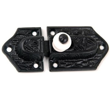 Restorers Black Iron Latch with Porcelain Knob
