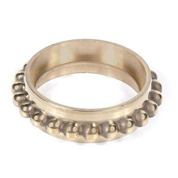 Restorers Classic Solid Brass Beaded Round Caster Ring