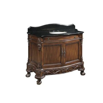 SINGLE WALNUT VANITY W/ BLK TOP  *DS PPD*