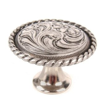 Flower Engraved Knob - 1 1/2 Inch Diameter