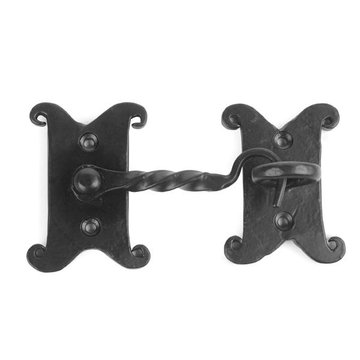 Restorers Iron Cabin Hook with Decorative Backplates
