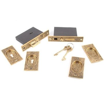 8 RICE POCKET DOOR MORTISE LOCK SET
