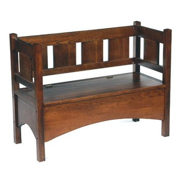 DARK OAK MISSION HALL BENCH