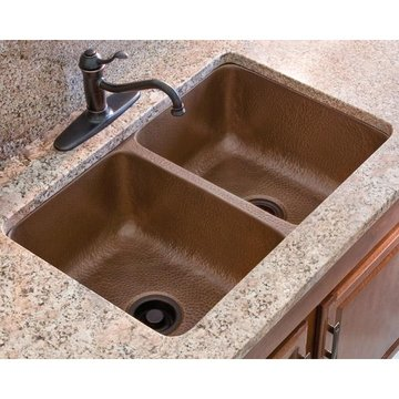 DOUBLE BOWL COPPER KITCHE SINK 14 GUAGE 31X20X9