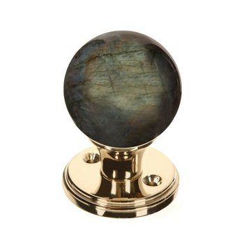 LABRADORITE 2 3/8 GEMSTONE DOOR KNOB SET